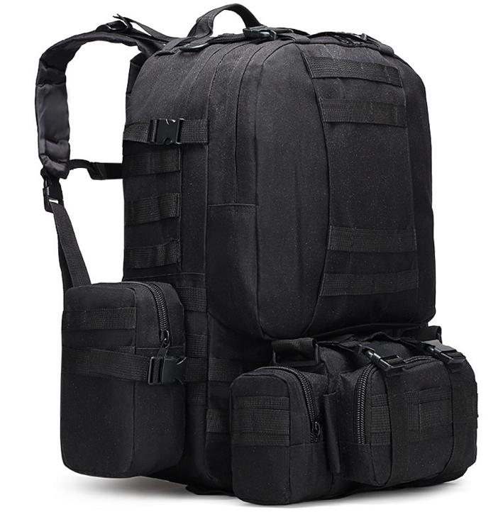 Тактический Штурмовой Военный Рюкзак с подсумками на 50-60литров черный TacticBag