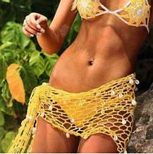 Пляжная желтая накидка, с ракушками, размер универсальный (160*60см), 100% акрил