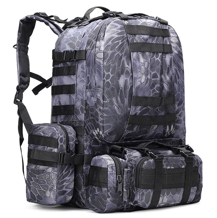 Тактический Штурмовой Военный Рюкзак с подсумками на 50-60литров Черный питон TacticBag