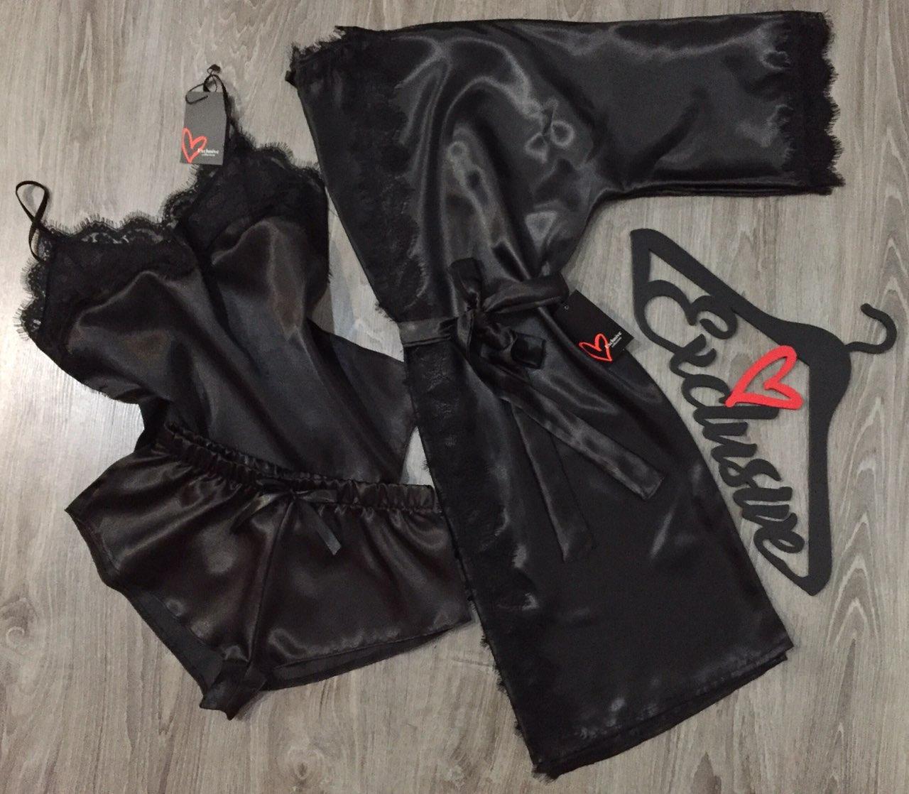 Черный халат+майка+шорты-набор для сна и дома.