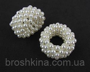 Резинки для волос мелкий жемчуг диаметр 3.5 см  мин. заказ 4 шт.