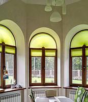 шторы плиссе на арочное окно