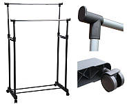 Напольная, двойная телескопическая вешалка-стойка для одежды Double Bar Rack Hight Ajustable (30 кг)
