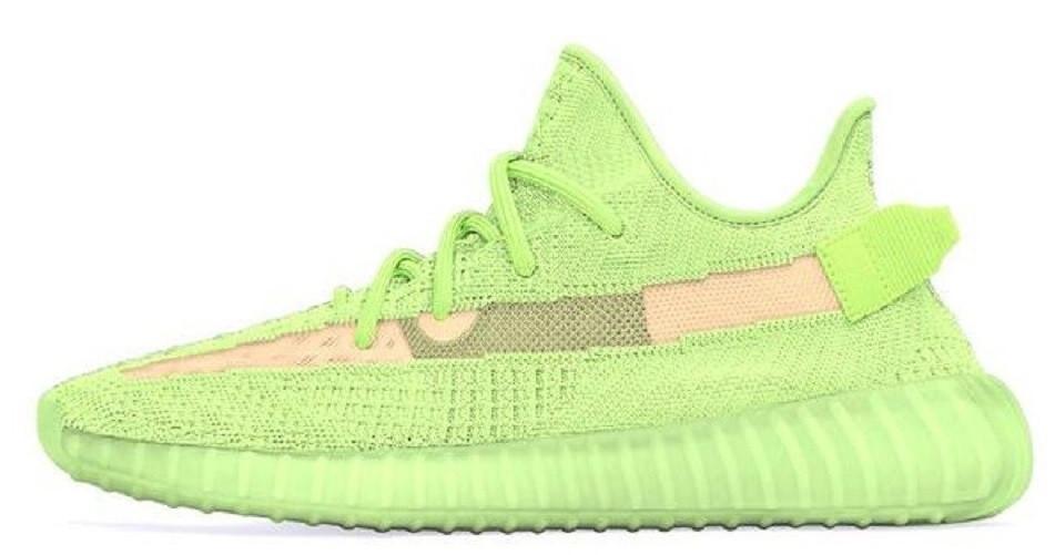reputable site b6504 aafd6 Мужские кроссовки Adidas Yeezy 350 v2 Glow Green (адидас изи буст 350,  зеленые, фосфорная подошва)