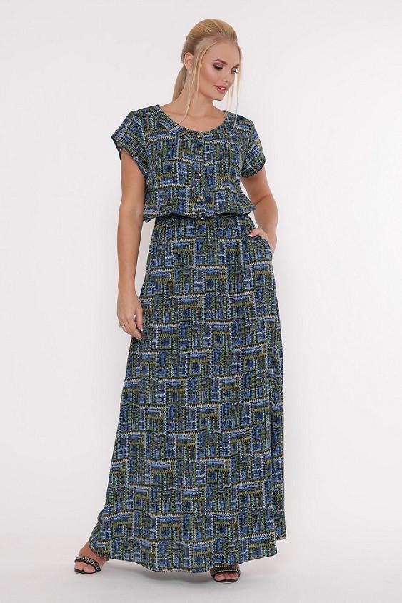 Длинное женское платье Влада электрик принт (52-58)