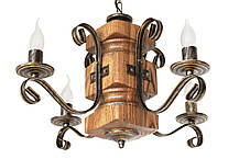 """Підвіс дерев'яний світлий дуб на 2 лампи модель """"Різьблений"""", фото 2"""