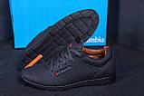 Мужские кожаные летние кроссовки, перфорация  Коламбия  SB black (реплика), фото 8