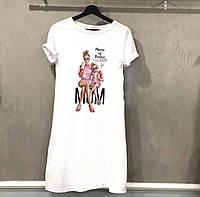 Женскаое платье-футболка белого цвета рисунком, накатка
