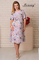 Легкое летнее струящееся платье с цветочным принтом для беременных Пудра Mommy M (2063)