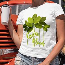 Жіноча футболка з принтом. Green Mood. Бавовна 100%. Розміри від S до 2XL