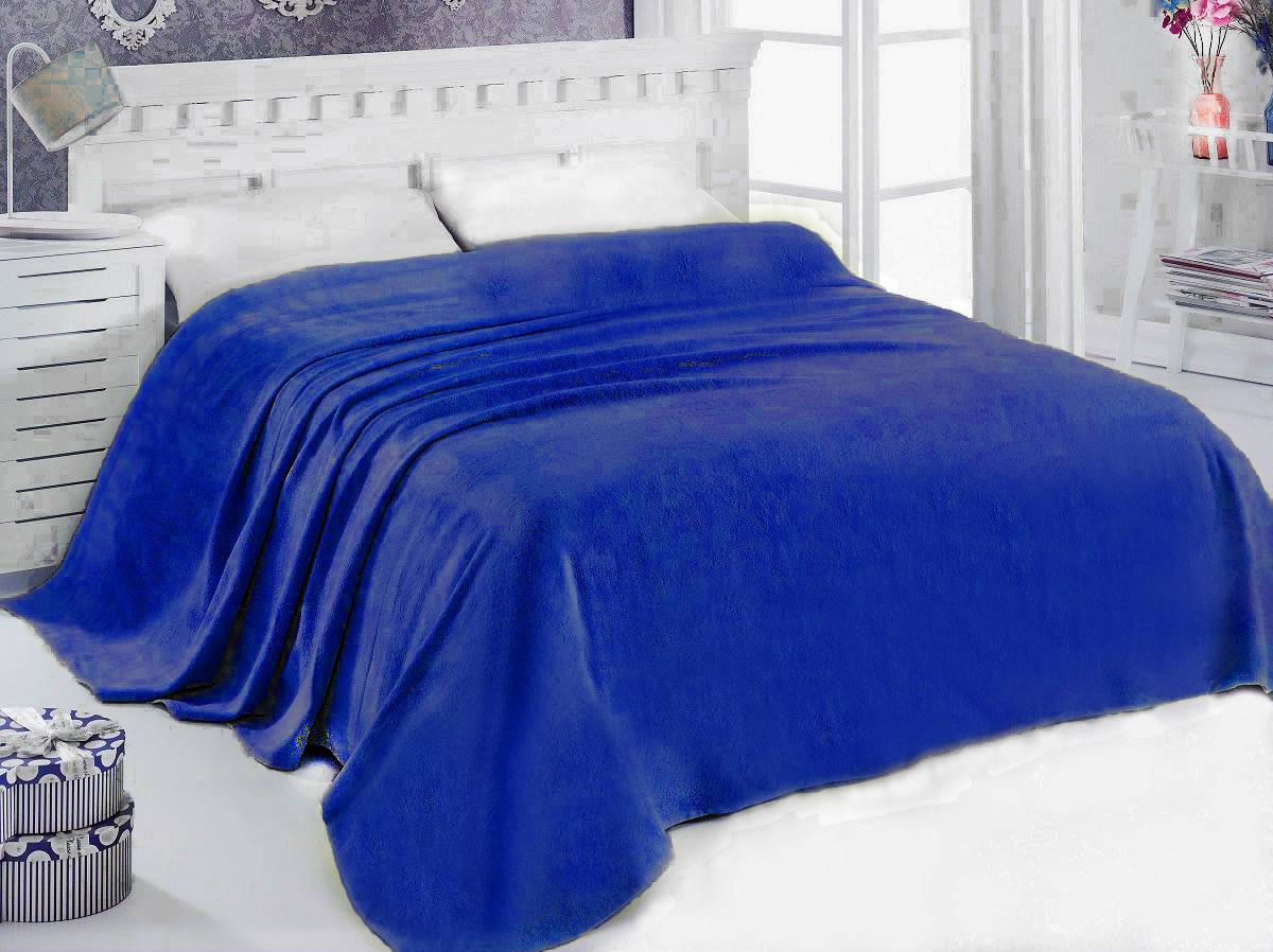 Простынь махровая 175х200 Синяя