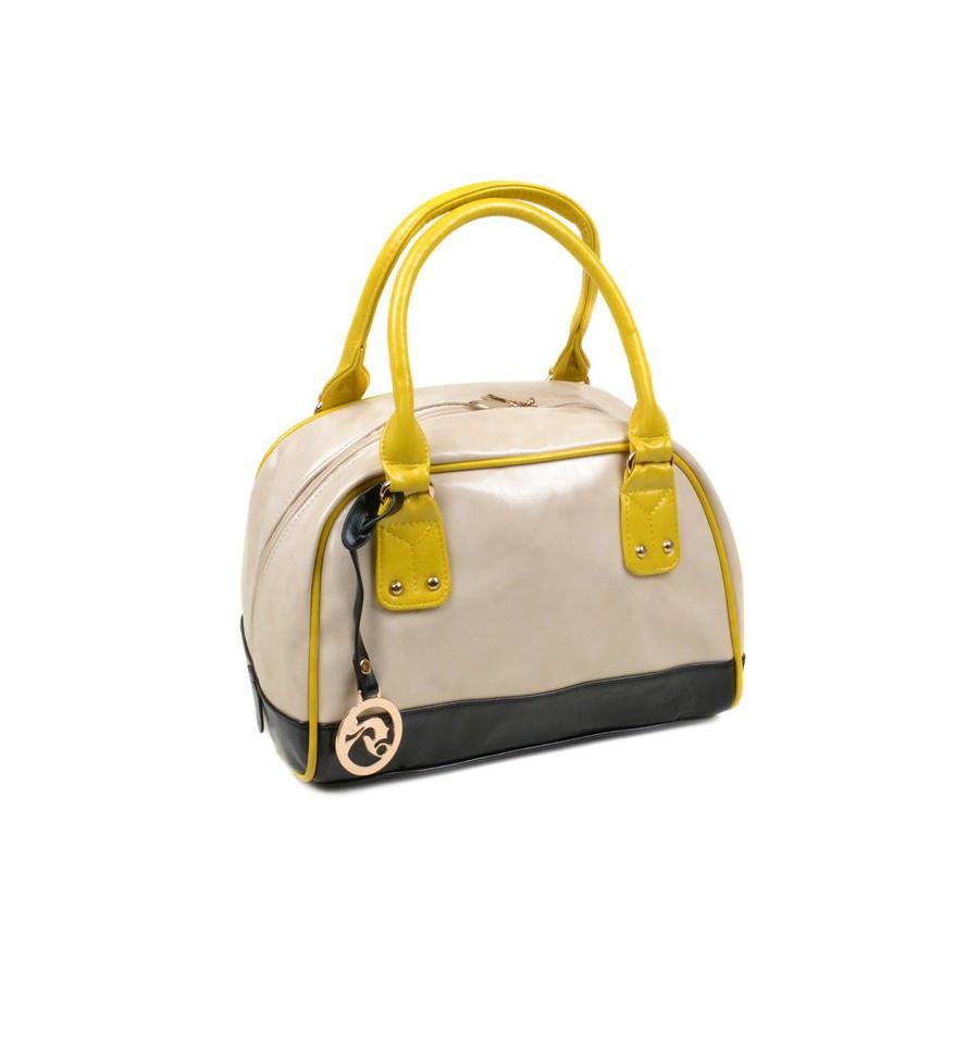 Сумка женская иск-кожа 3-2 9722 beige-black-yellow