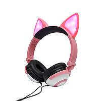 Наушники проводные LINX Ear Headphone с лисьими ушками LED 180 mAh Розовые