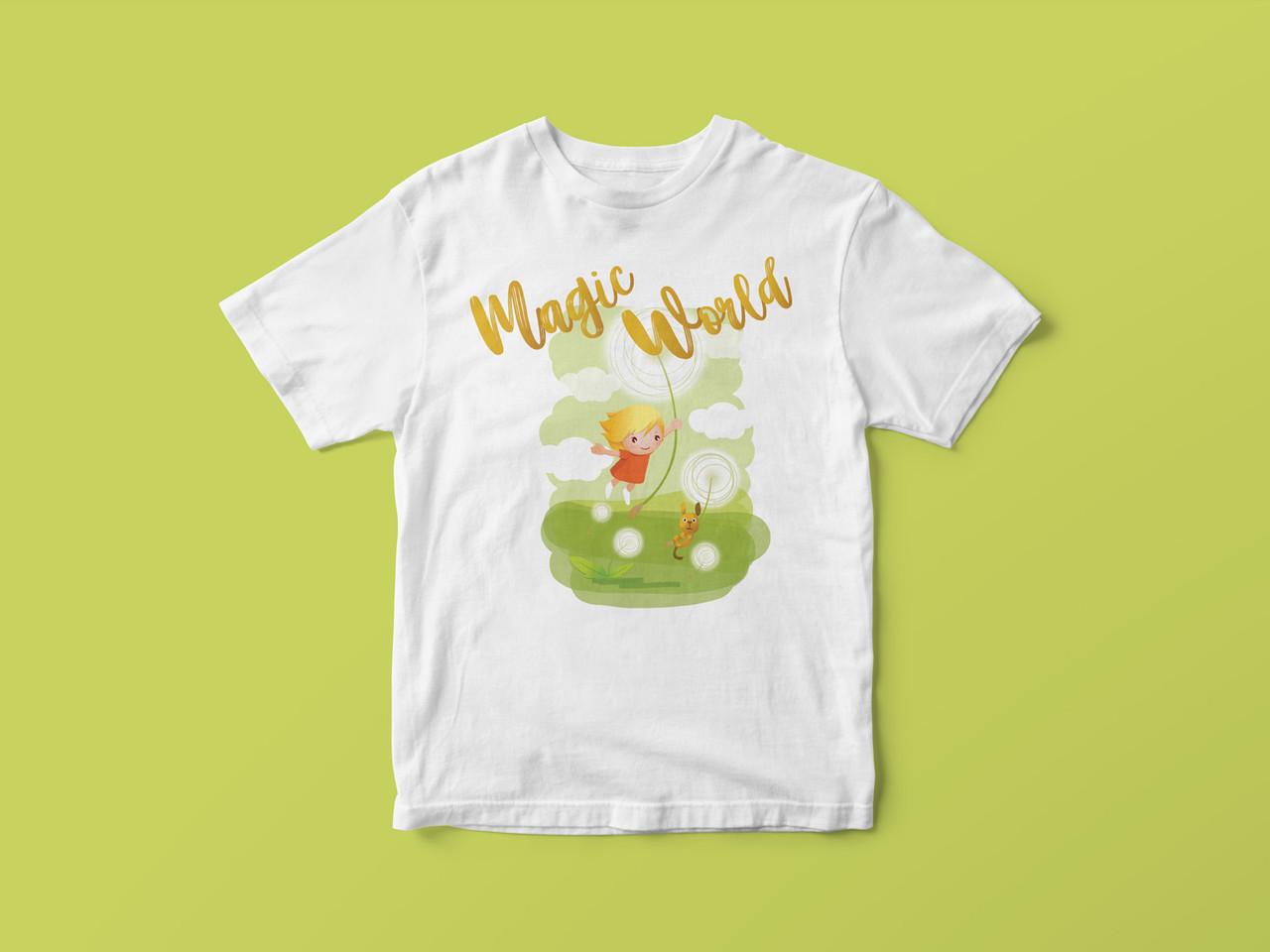 Детская футболка с принтом. Magic World 1. Хлопок 100%. Размеры от 3 до 12 лет
