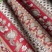 Декоративная ткань с цветочными узорами красно-бордового цвета на широких полосках бежевый фон Испания 82931v2