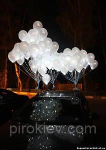 """Белый шар с белым светодиодом (с гелием), встроенный светодиод с кнопкой, три режима работы, размер 12"""""""