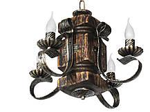 """Подвес из дерева  состаренный белый на 4 лампы с квадратными рожками модель """"Резной"""", фото 2"""