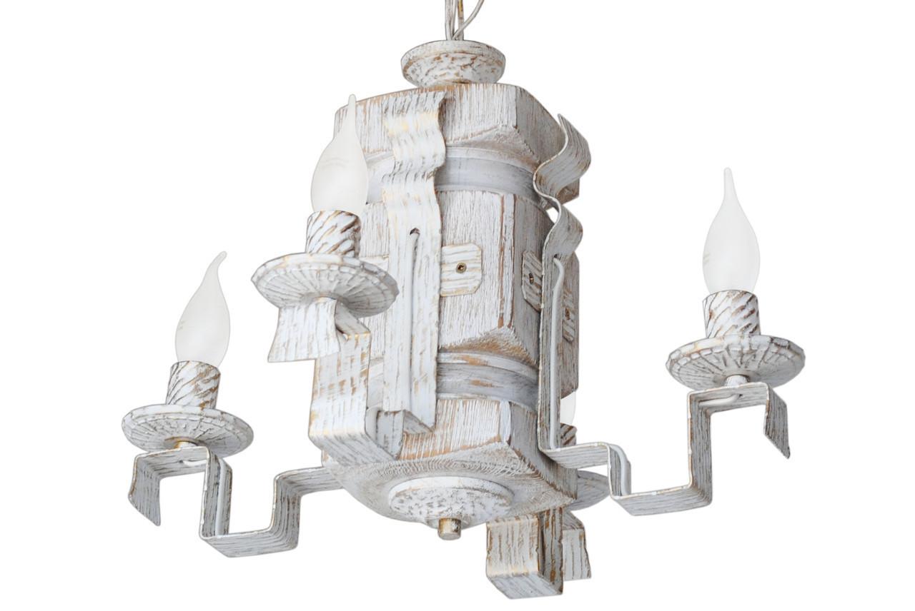 """Подвес из дерева  состаренный белый на 4 лампы с квадратными рожками модель """"Резной"""""""