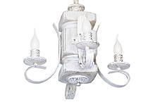 """Подвес из дерева  состаренный белый на 4 лампы с квадратными рожками модель """"Резной"""", фото 3"""