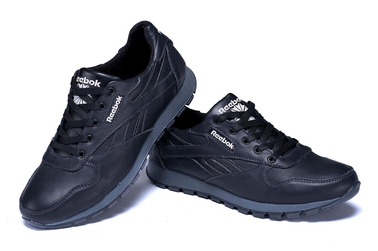 Мужские кожаные кроссовки Reebok Classic Black (peпликa)