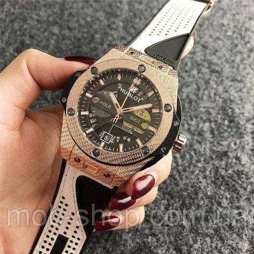 Наручные часы Hublot 6105 Black-White-Gold Chronograph