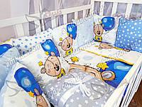 """Комплект постельного в детскую кроватку для новорожденных """"Panal"""" шарики"""