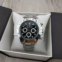Мужские копия механических часов Rolex daytona cosmograph 40 mm steel silver black 06364
