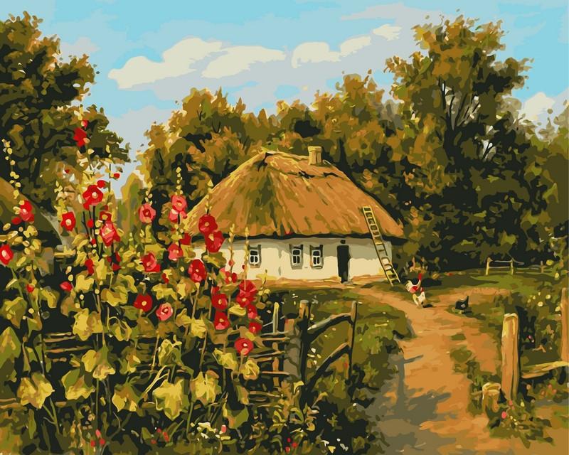 Картина по номерам 40×50 см. Сельская хатка Художник Геннадий Колесной