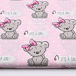 "Отрез ткани ""Мишки Girl с малиновым бантиком"" на розовом фоне (1588а), размер 53*160, фото 2"