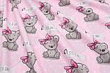 "Отрез ткани ""Мишки Girl с малиновым бантиком"" на розовом фоне (1588а), размер 53*160, фото 5"