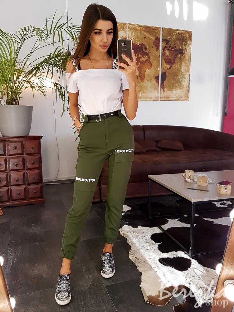 Женские брюки на манжетах с поясом и карманами 66bil359