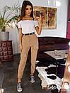 Женские брюки на манжетах с поясом и карманами 66bil359, фото 3