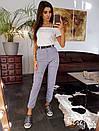 Женские брюки на манжетах с поясом и карманами 66bil359, фото 4