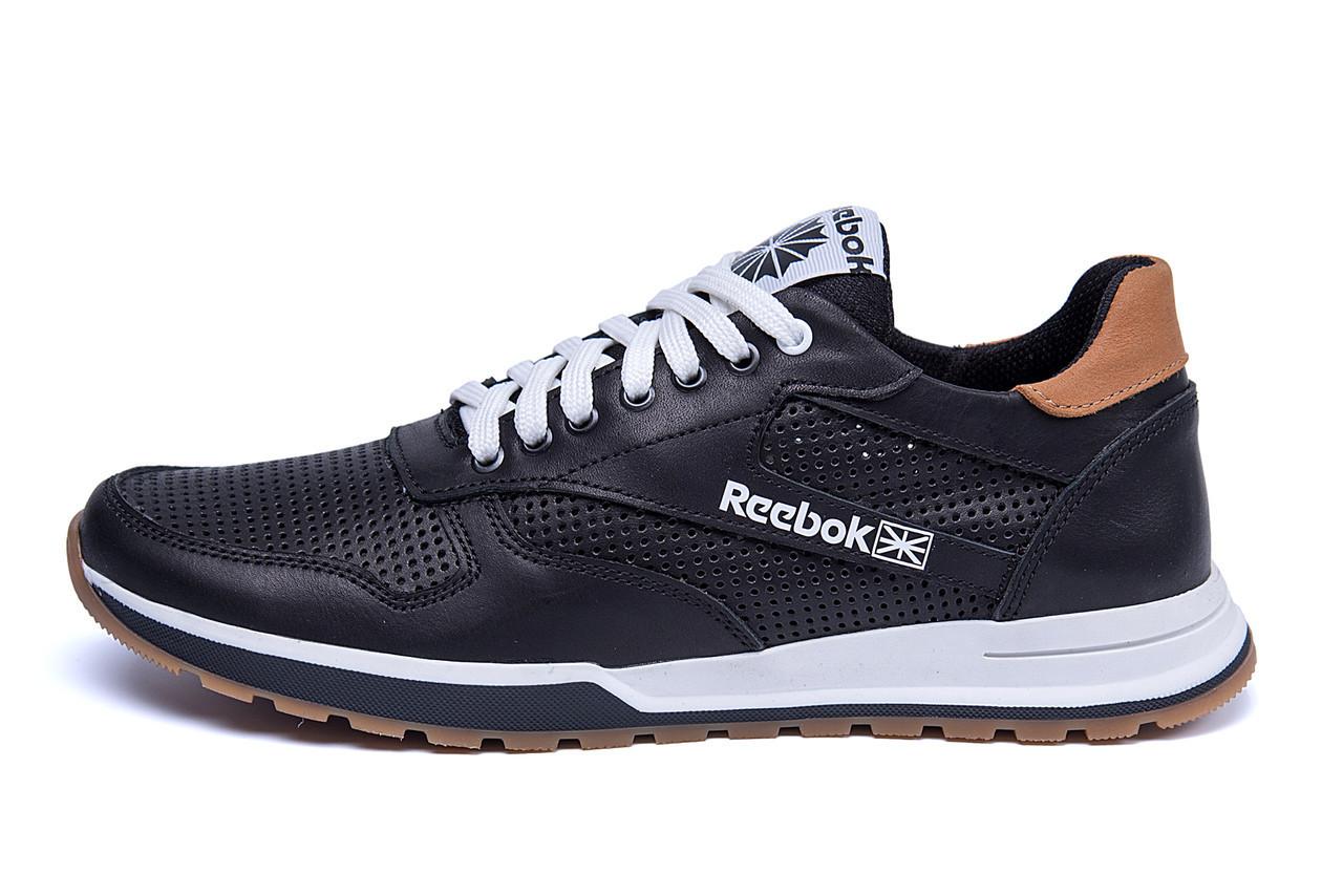 Мужские кожаные летние кроссовки, перфорация Reebok Classic black (реплика)
