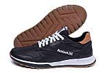 Мужские кожаные летние кроссовки, перфорация Reebok Classic black (реплика), фото 5