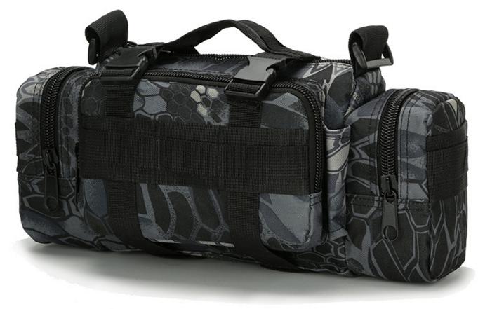 Тактическая универсальная поясная, наплечная сумочка TacticBag Черный питон