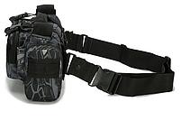 Тактическая универсальная поясная, наплечная сумочка TacticBag Черный питон, фото 2