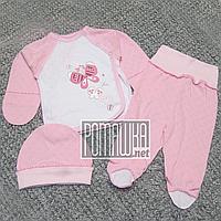 Летний с дырочками р 56 0-1 мес костюмчик комплект на выписку для новорожденной девочки МУЛЬТИРИП 4756 Розовый