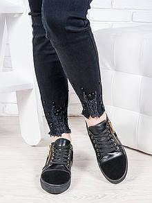 Черные замшевые женские кеды с кожаными вставками oc6653