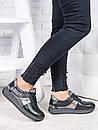 Черные кожаные женские кроссовки с вставками oc6921, фото 2