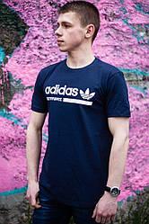 Футболка мужская Адидас демисезонная синяя (реплика) T-Shirt Nike Adidas Blue 42