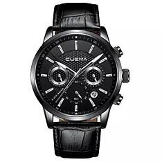 Мужские стильные водонепроницаемые часы CUENA 6805 Black