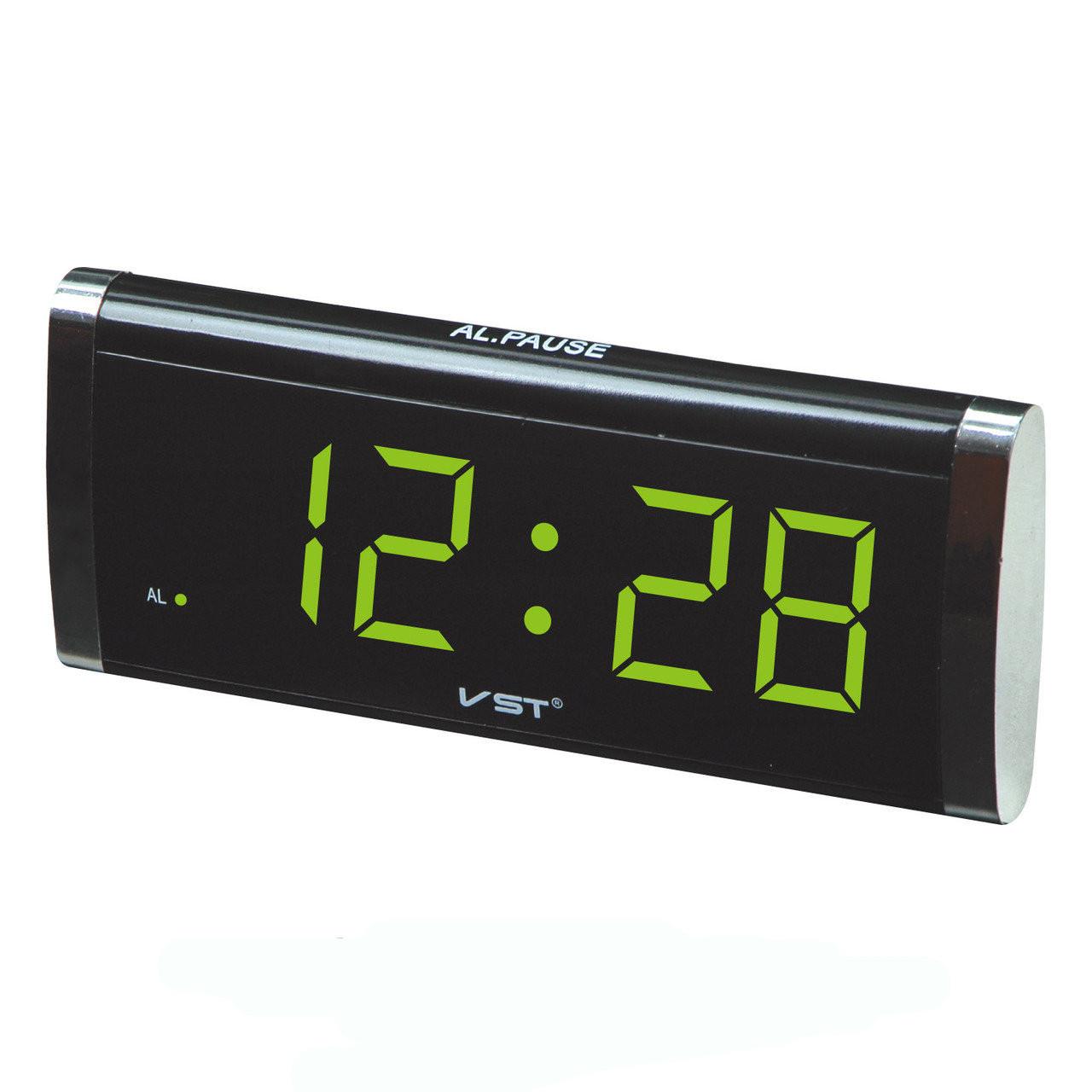 Часы настольные сетевые VST 730-2, зеленые