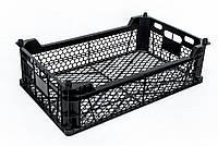 Ящик для хранения и транспортировки (ОПТ ОТ 128шт) пластиковый перфорированный чёрный 480x300x130мм