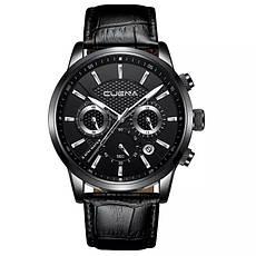 Чоловічі стильні водонепроникні годинники CUENA 6805 Black-Silver, фото 2