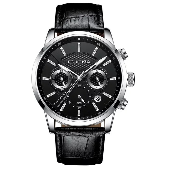 Чоловічі стильні водонепроникні годинники CUENA 6805 Black-Silver