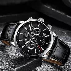 Чоловічі стильні водонепроникні годинники CUENA 6805 Black-Silver, фото 3