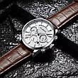 Чоловічі стильні водонепроникні годинники CUENA 6805 Black-Silver, фото 4