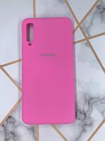 Силиконовый матовый чехол Silicone Case для Samsung Galaxy A7(2018) A750 Ярко-розовый