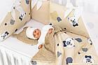 Комплект постельного белья из сатина Asik Мишки в полоску бежевого цвета (6-330), фото 3